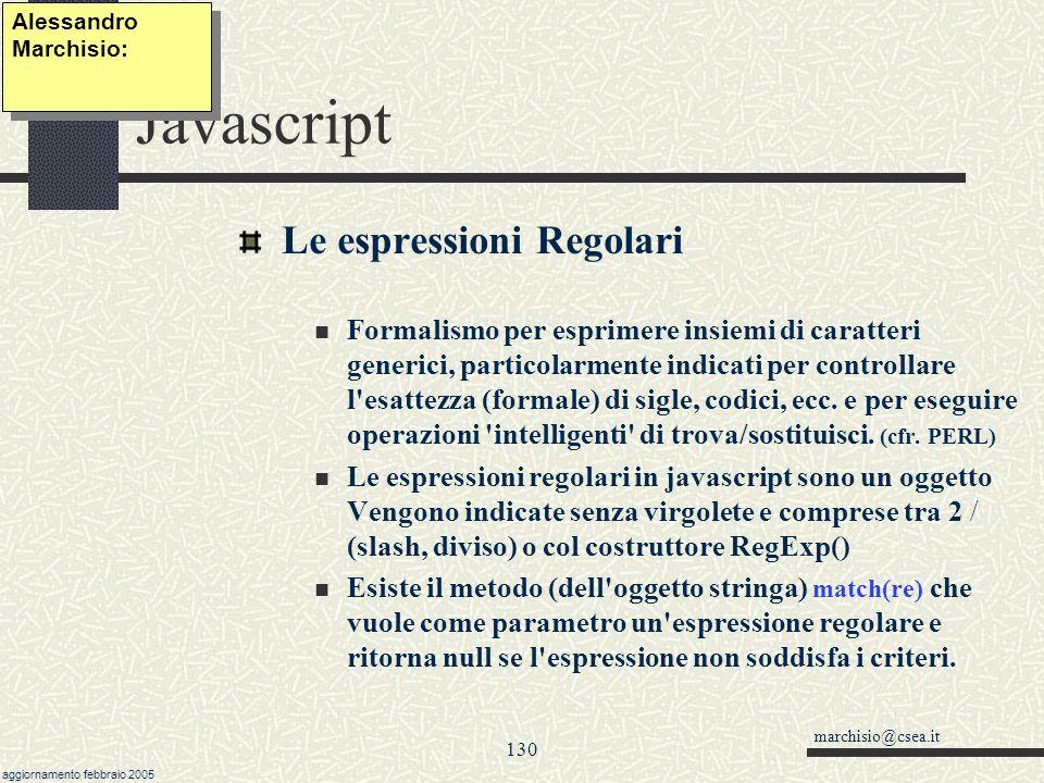 Javascript Le espressioni Regolari