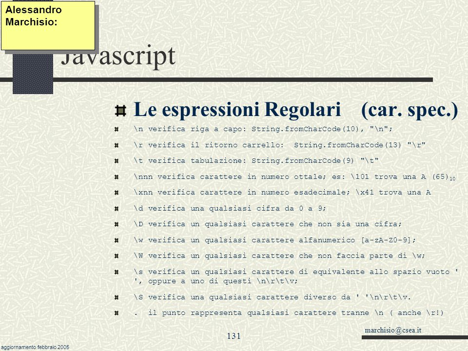 Javascript Le espressioni Regolari (car. spec.) Alessandro Marchisio:
