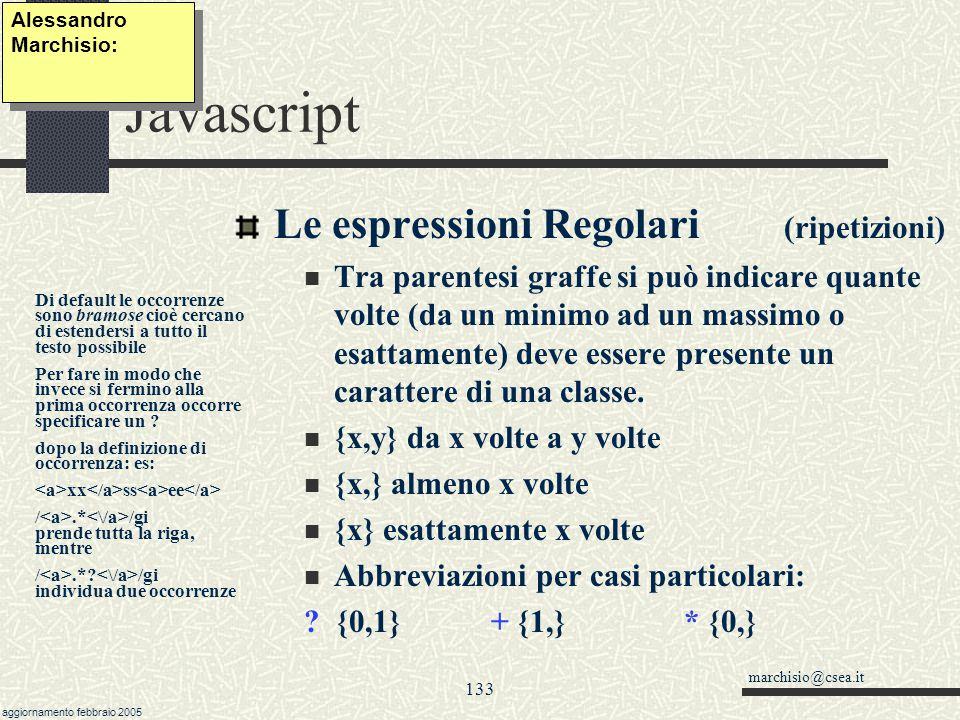 Javascript Le espressioni Regolari (ripetizioni)