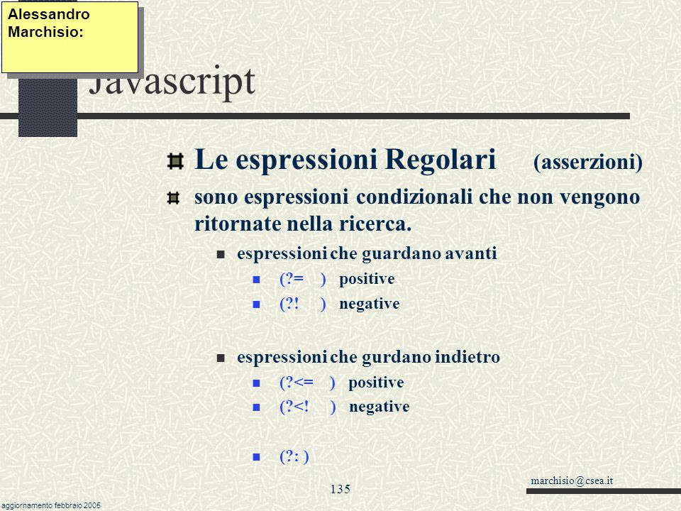 Javascript Le espressioni Regolari (asserzioni)