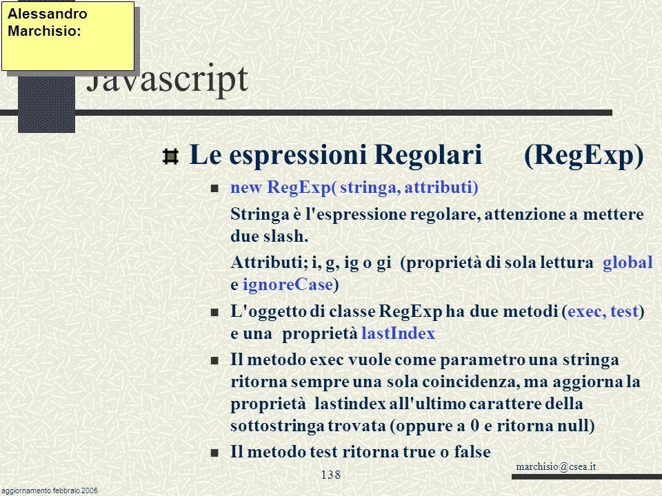 Javascript Le espressioni Regolari (RegExp)