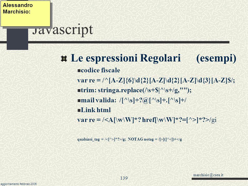Javascript Le espressioni Regolari (esempi) codice fiscale