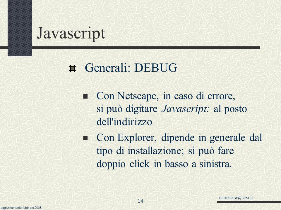 Javascript Generali: DEBUG