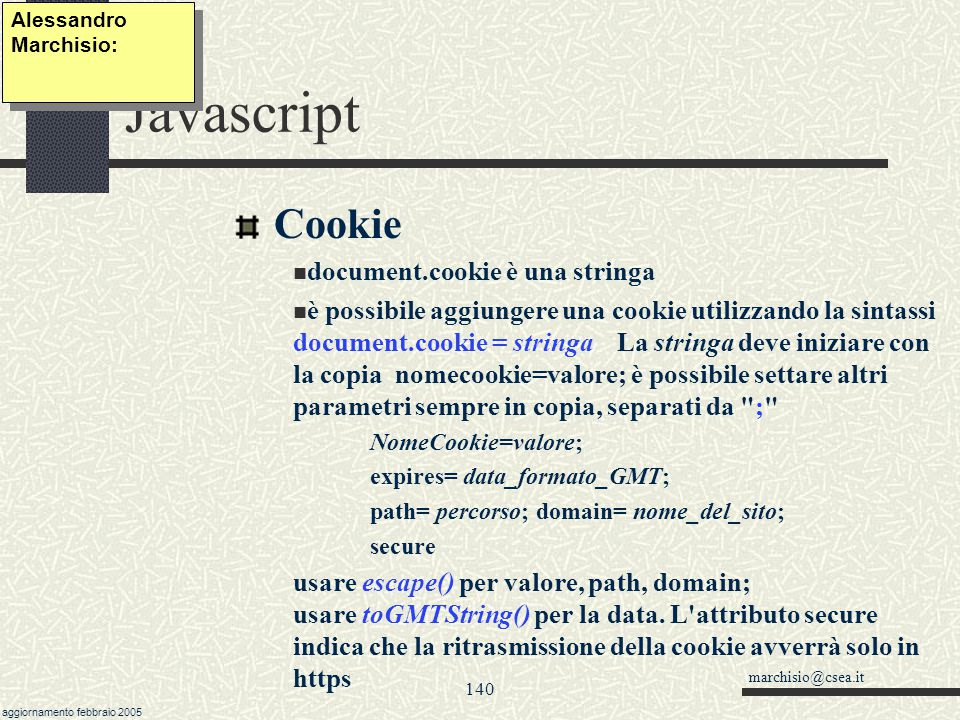 Javascript Cookie document.cookie è una stringa
