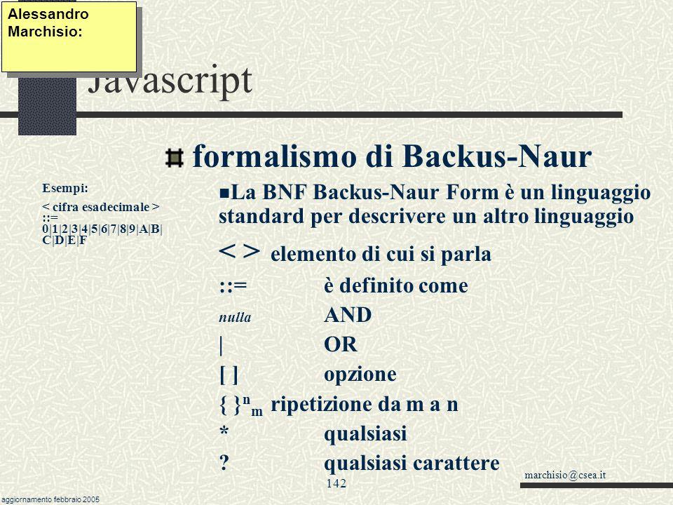 Javascript formalismo di Backus-Naur