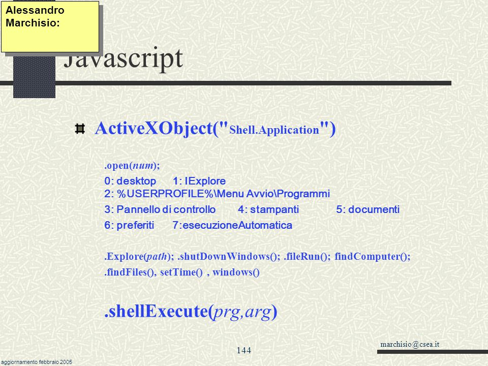 Javascript ActiveXObject( Shell.Application ) .shellExecute(prg,arg)
