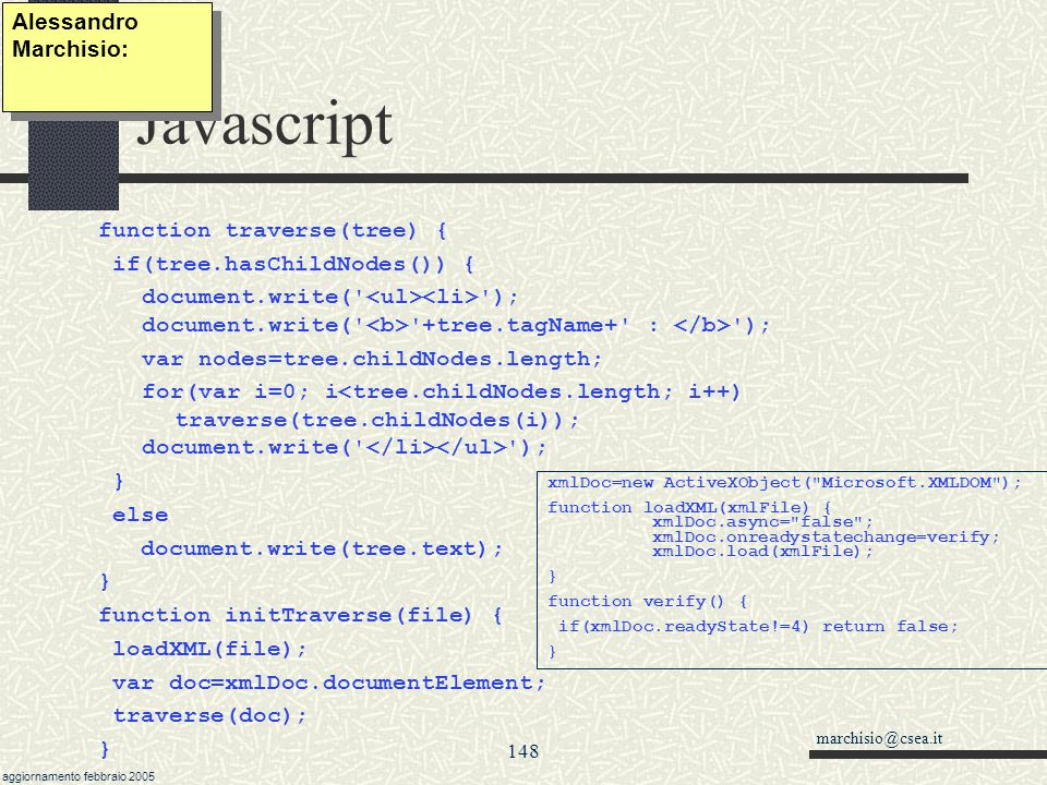 Javascript Alessandro Marchisio: function traverse(tree) {