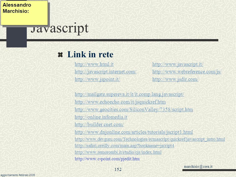 Javascript Link in rete Alessandro Marchisio: