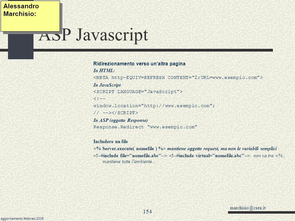 ASP Javascript Alessandro Marchisio: 154 07/04/2017