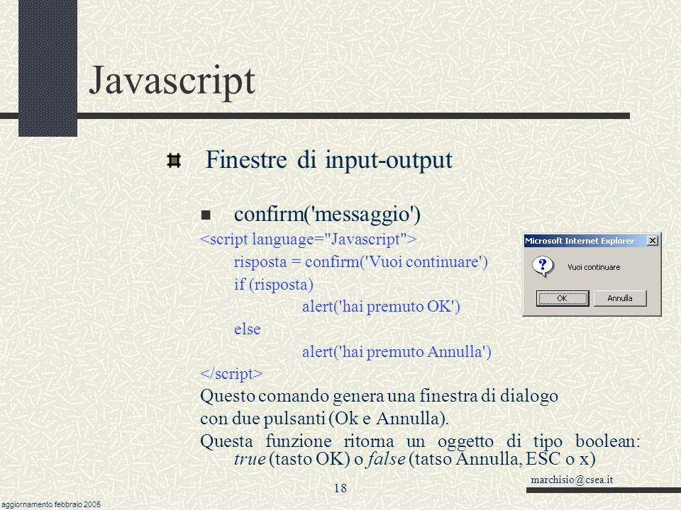 Javascript Finestre di input-output confirm( messaggio )