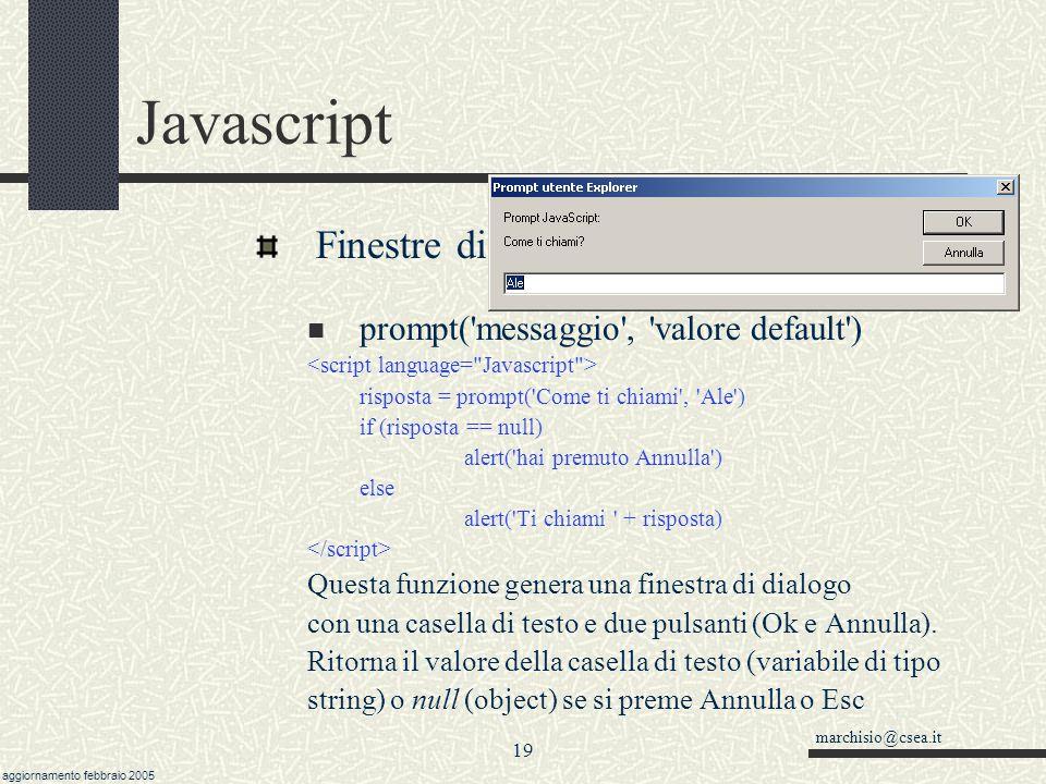 Javascript Finestre di input-output