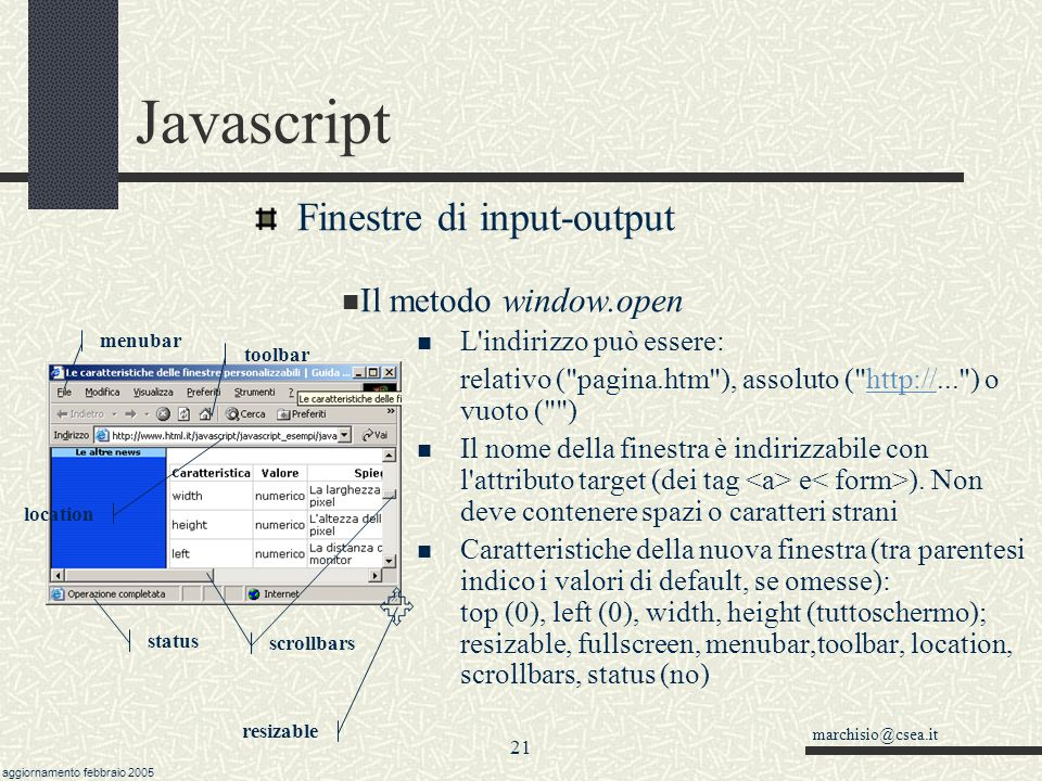 Javascript Finestre di input-output Il metodo window.open