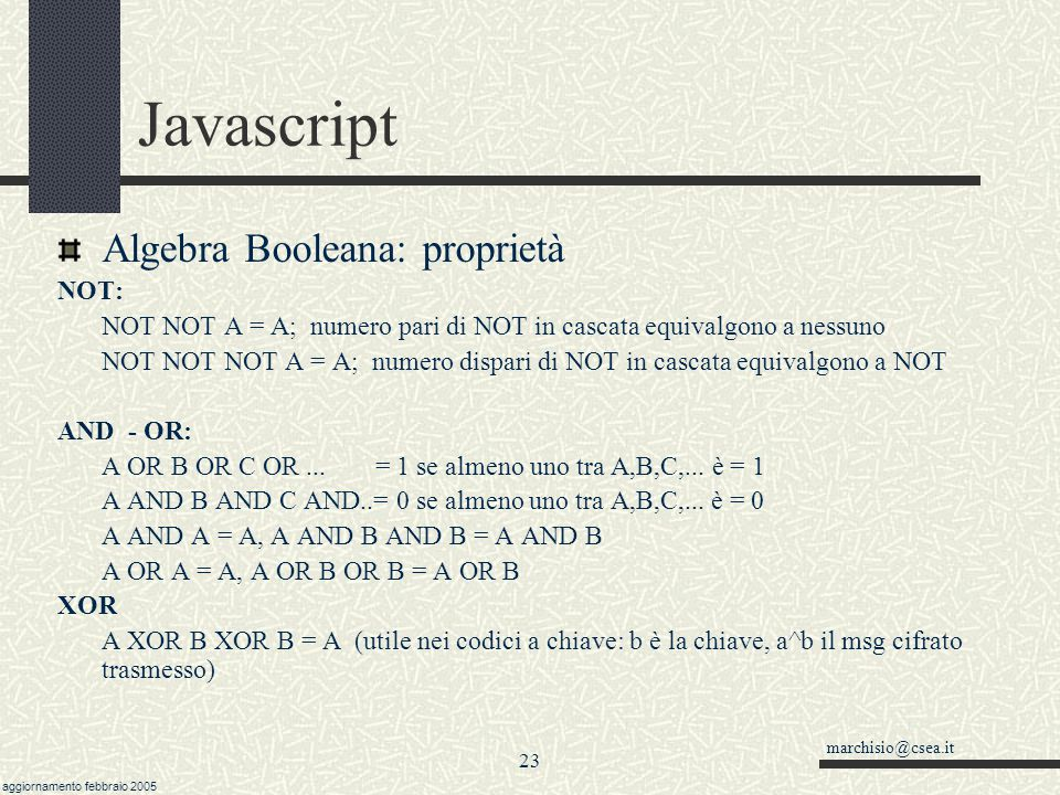 Javascript Algebra Booleana: proprietà NOT: