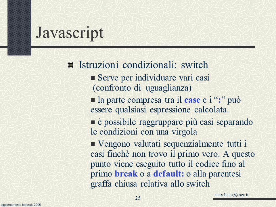 Javascript Istruzioni condizionali: switch
