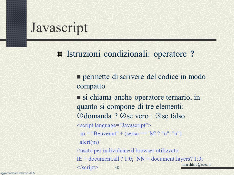 Javascript Istruzioni condizionali: operatore