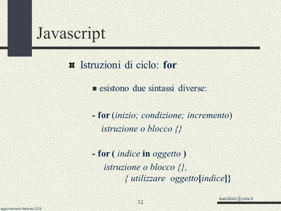 Javascript Istruzioni di ciclo: for esistono due sintassi diverse: