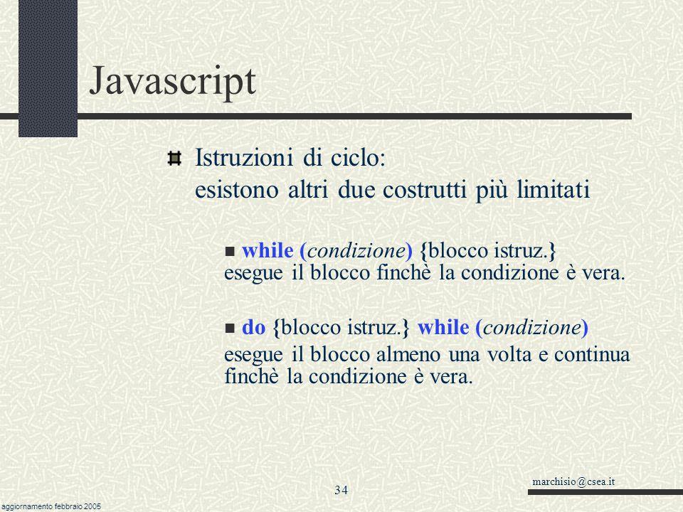 Javascript Istruzioni di ciclo: