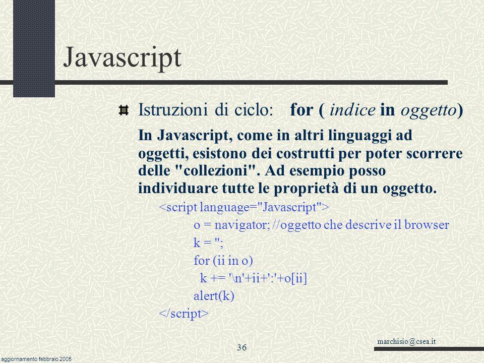 Javascript Istruzioni di ciclo: for ( indice in oggetto)
