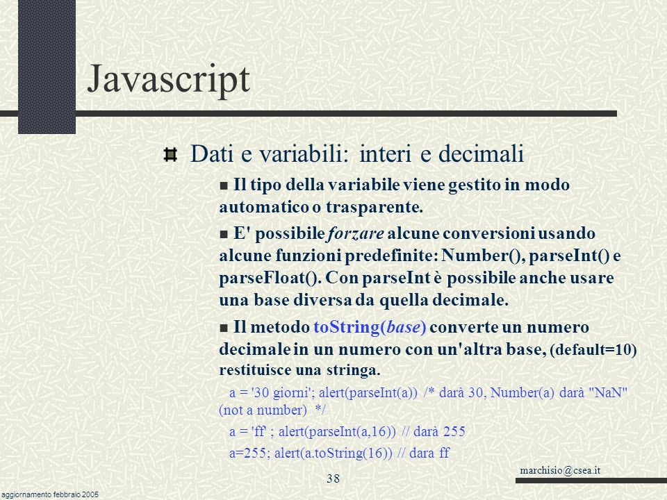 Javascript Dati e variabili: interi e decimali