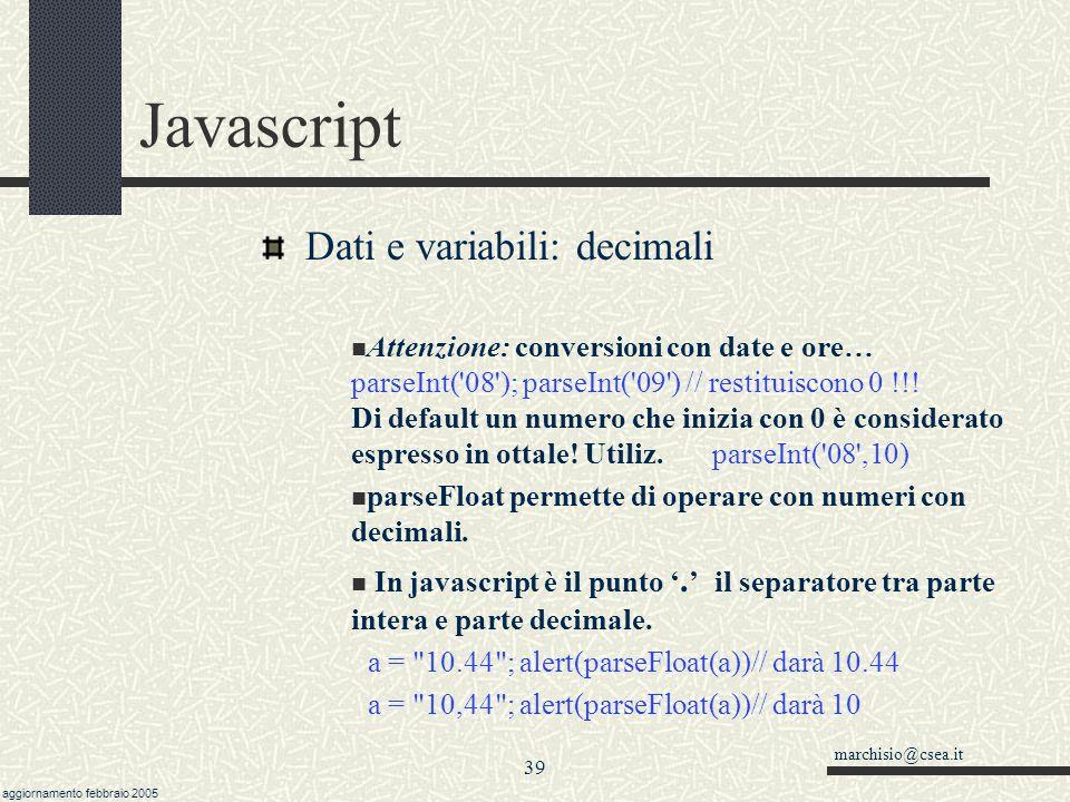 Javascript Dati e variabili: decimali
