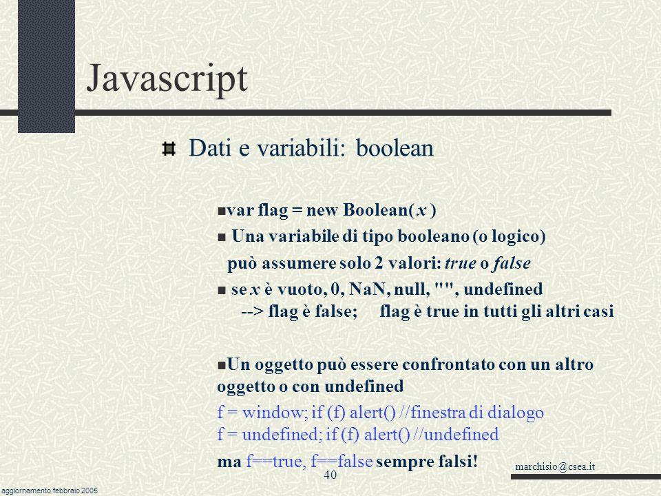 Javascript Dati e variabili: boolean var flag = new Boolean( x )