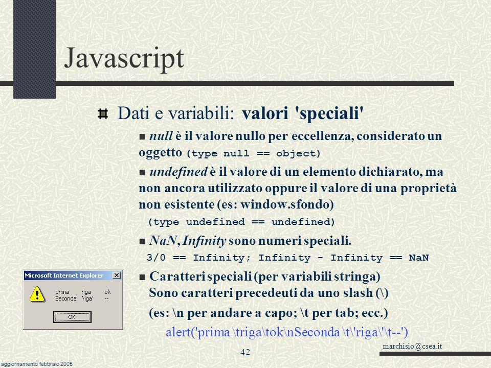 Javascript Dati e variabili: valori speciali