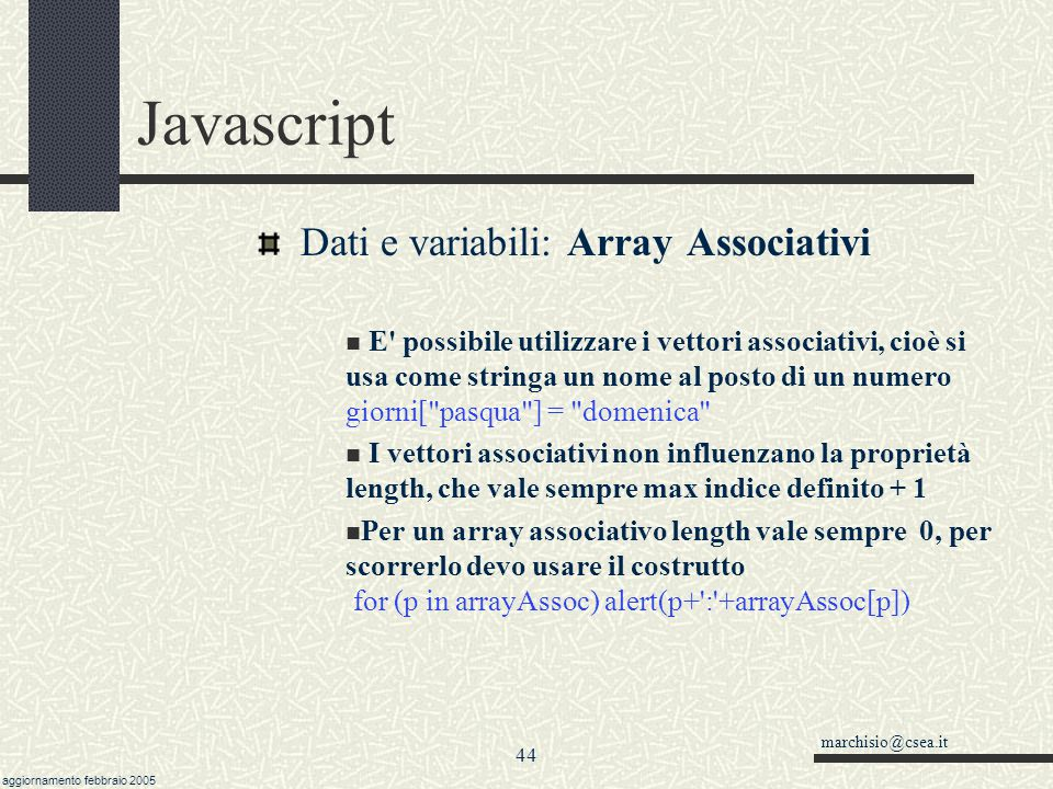 Javascript Dati e variabili: Array Associativi