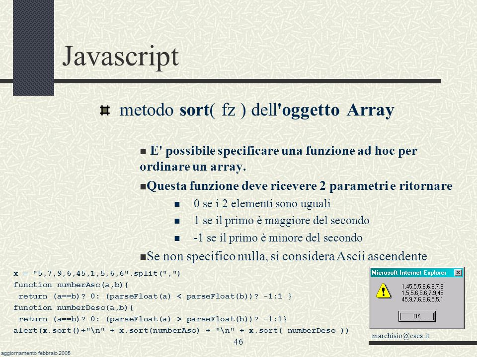Javascript metodo sort( fz ) dell oggetto Array