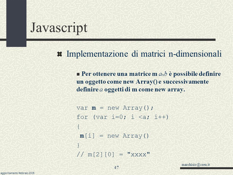 Javascript Implementazione di matrici n-dimensionali