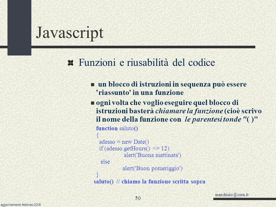 Javascript Funzioni e riusabilità del codice