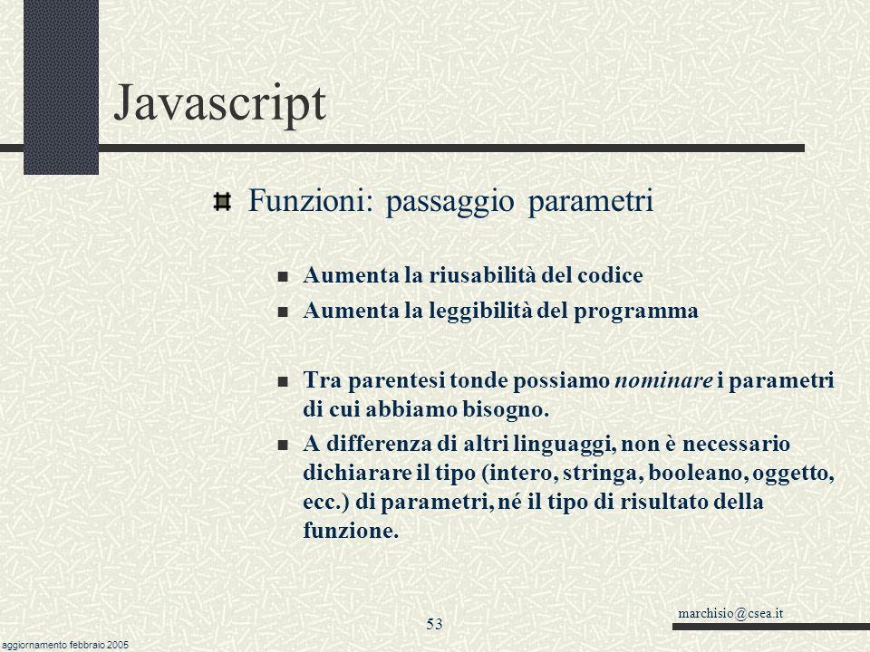 Javascript Funzioni: passaggio parametri
