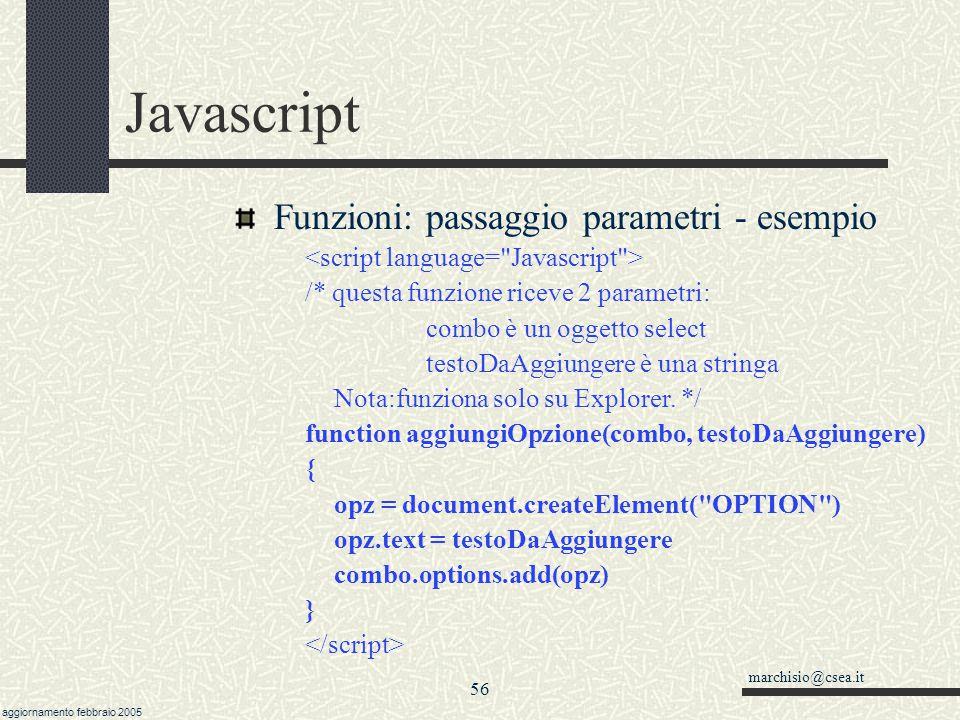 Javascript Funzioni: passaggio parametri - esempio