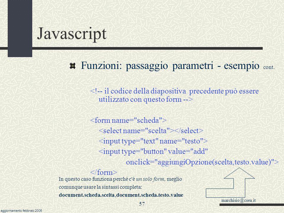 Javascript Funzioni: passaggio parametri - esempio cont.