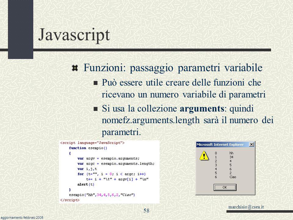 Javascript Funzioni: passaggio parametri variabile