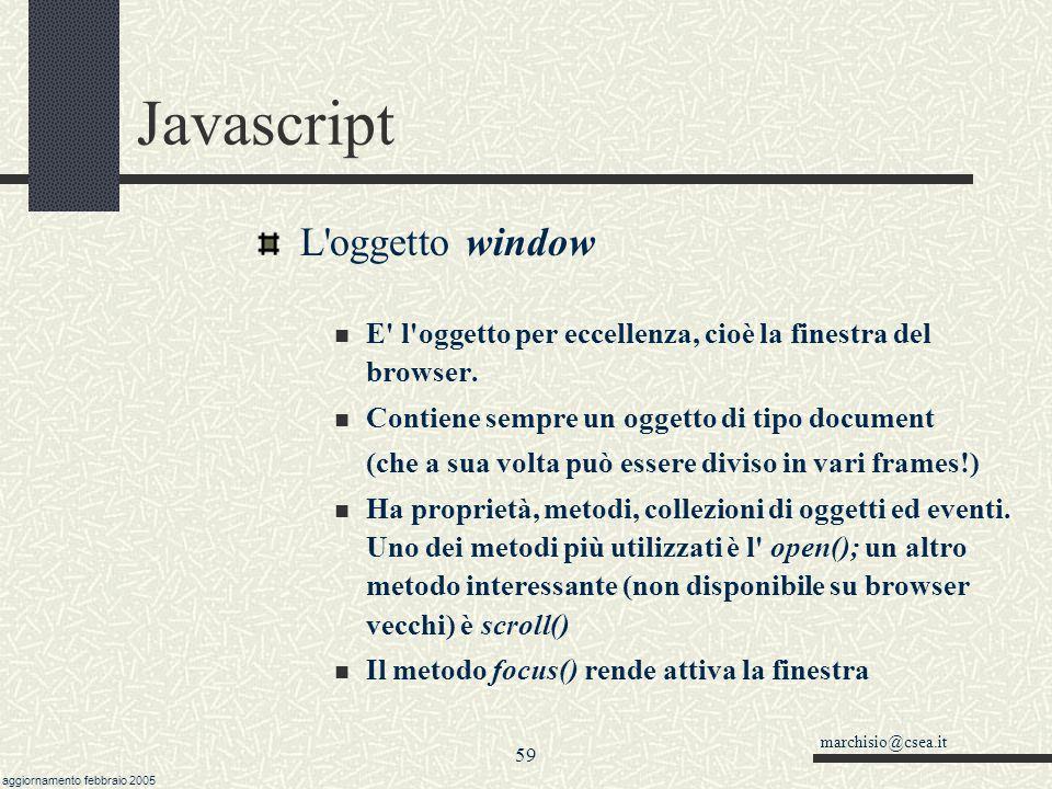Javascript L oggetto window