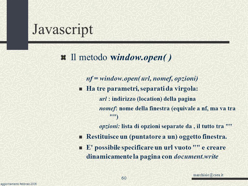 Javascript Il metodo window.open( )