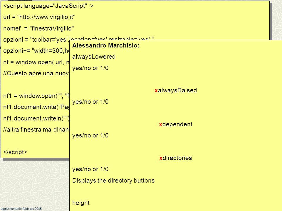 Javascript Il metodo window.open( ) esempio