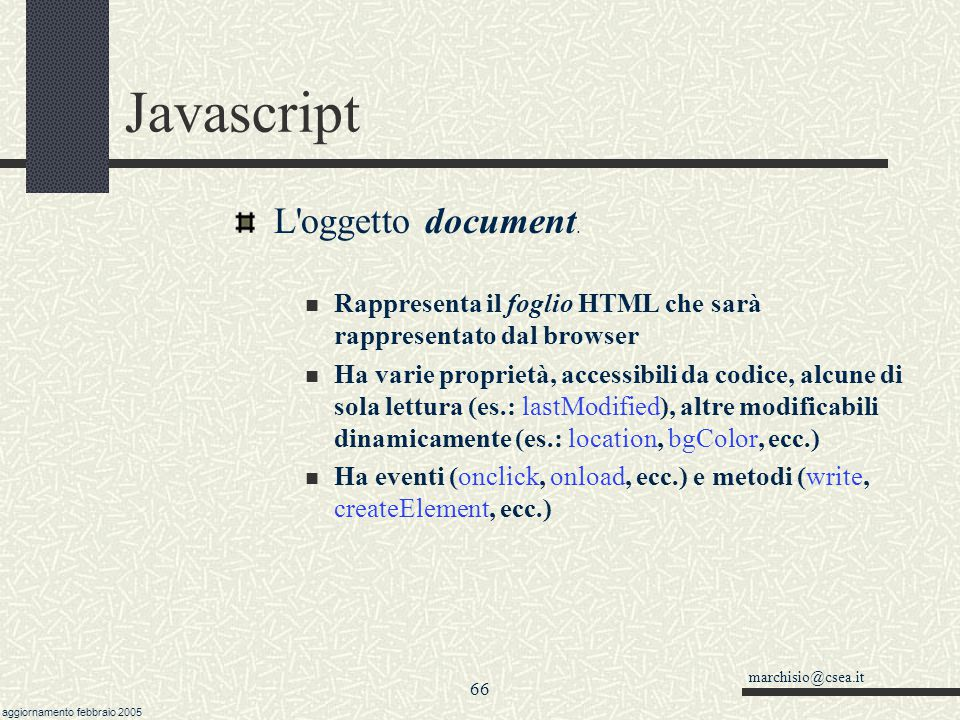 Javascript L oggetto document.