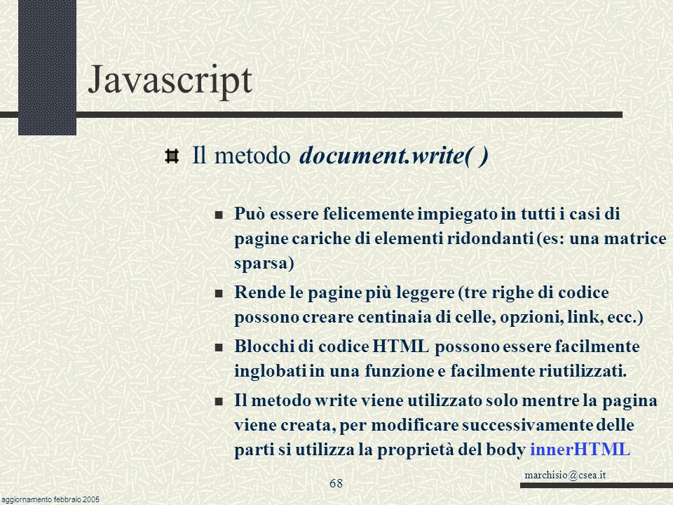 Javascript Il metodo document.write( )