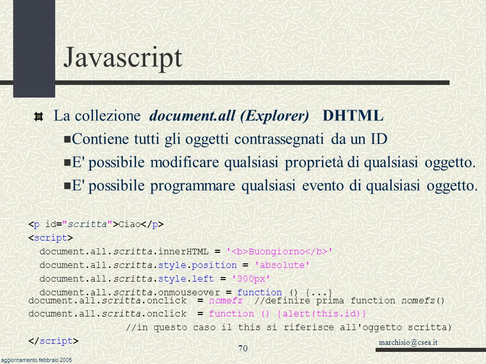 Javascript La collezione document.all (Explorer) DHTML