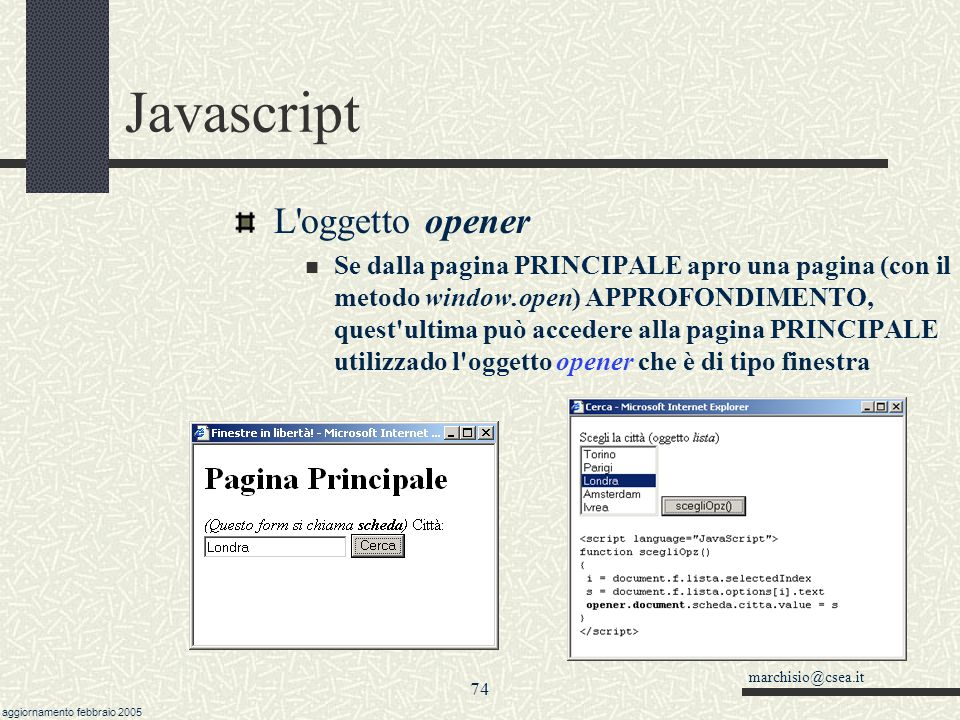 Javascript L oggetto opener