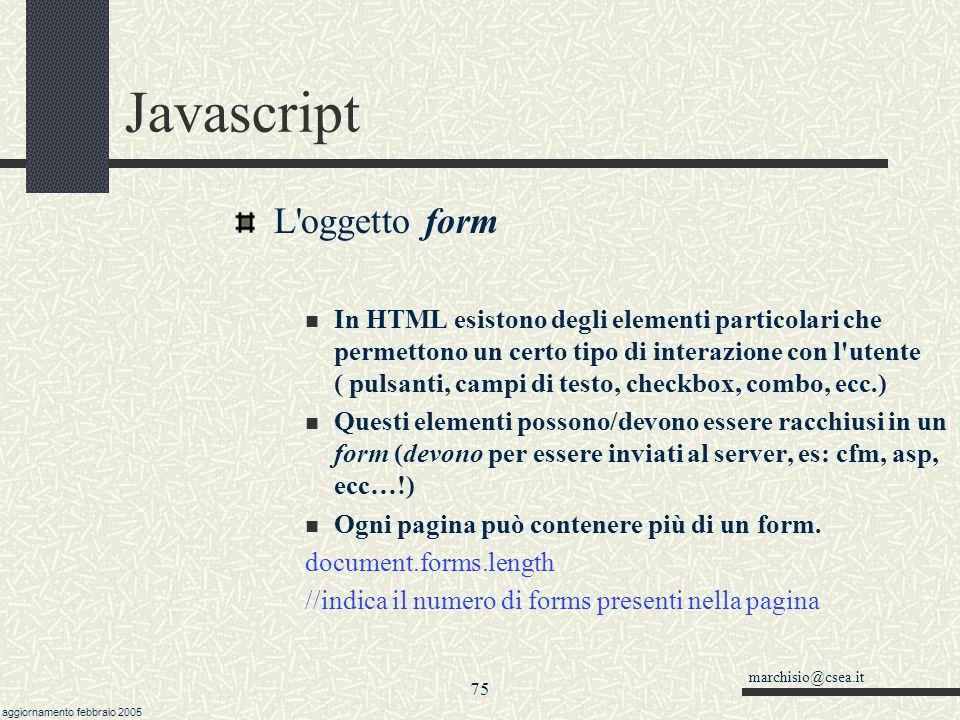 Javascript L oggetto form