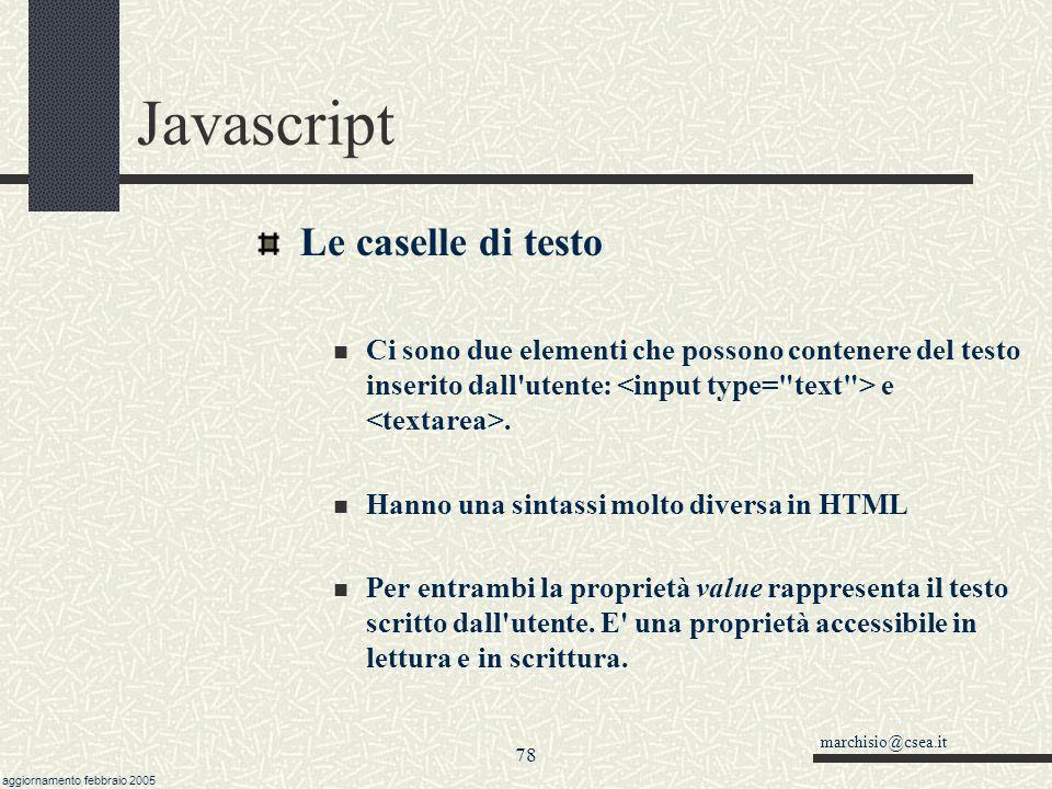 Javascript Le caselle di testo