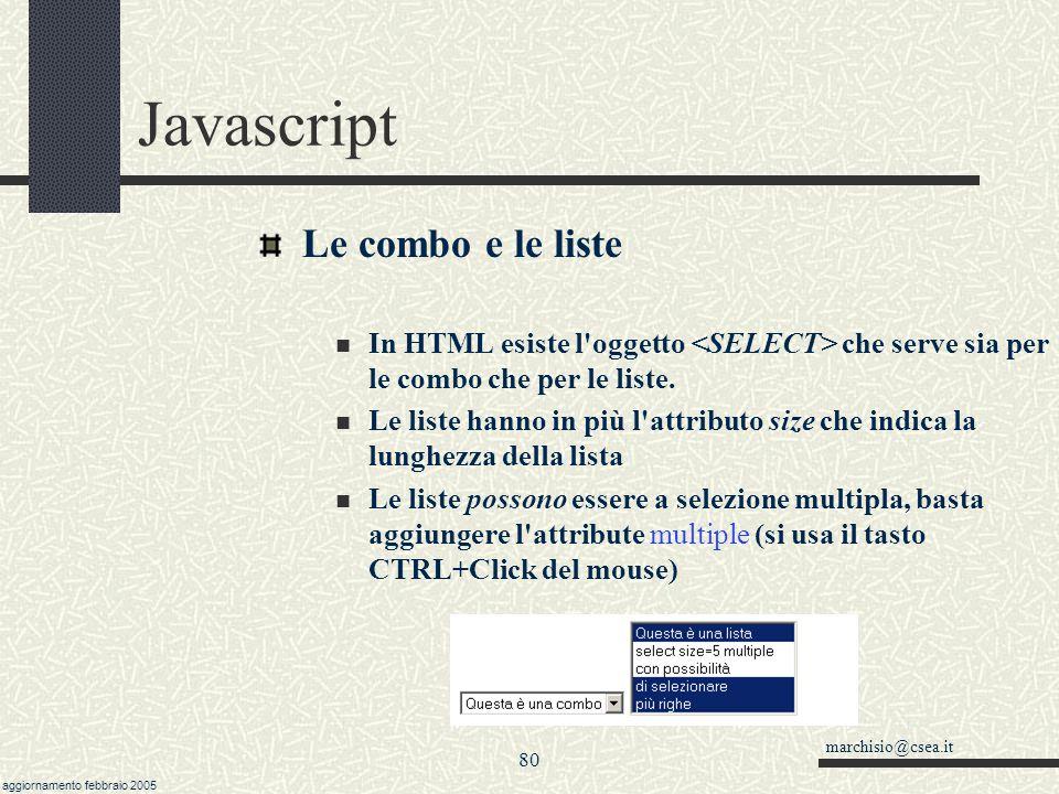 Javascript Le combo e le liste