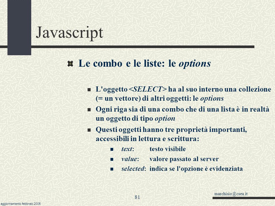 Javascript Le combo e le liste: le options