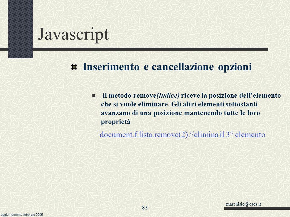 Javascript Inserimento e cancellazione opzioni