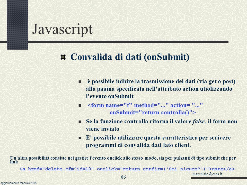 Javascript Convalida di dati (onSubmit)
