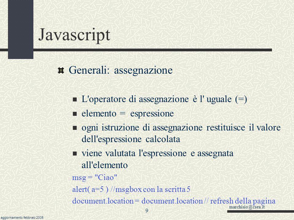 Javascript Generali: assegnazione