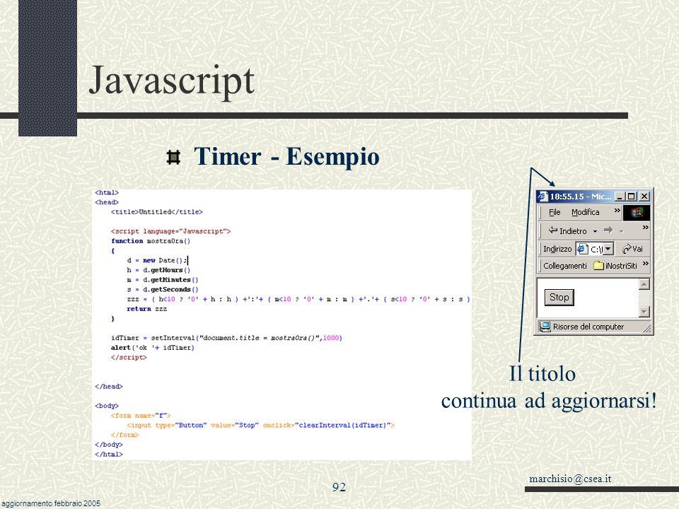 Javascript Timer - Esempio Il titolo continua ad aggiornarsi! 92