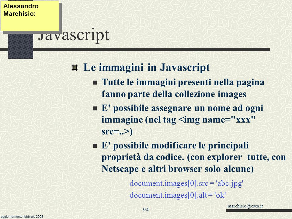 Javascript Le immagini in Javascript